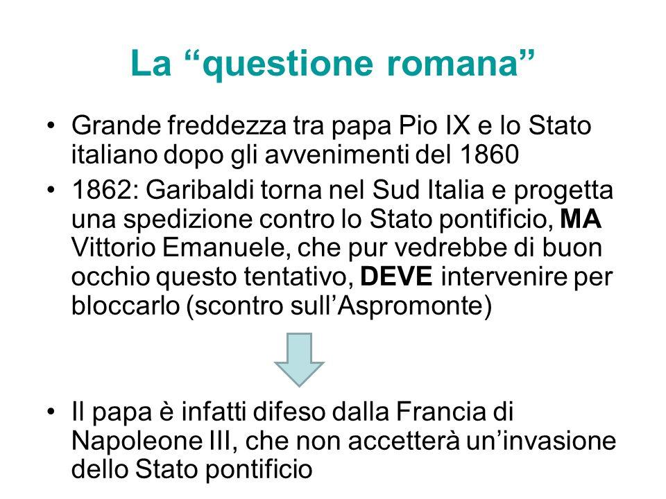 La questione romana Grande freddezza tra papa Pio IX e lo Stato italiano dopo gli avvenimenti del 1860.
