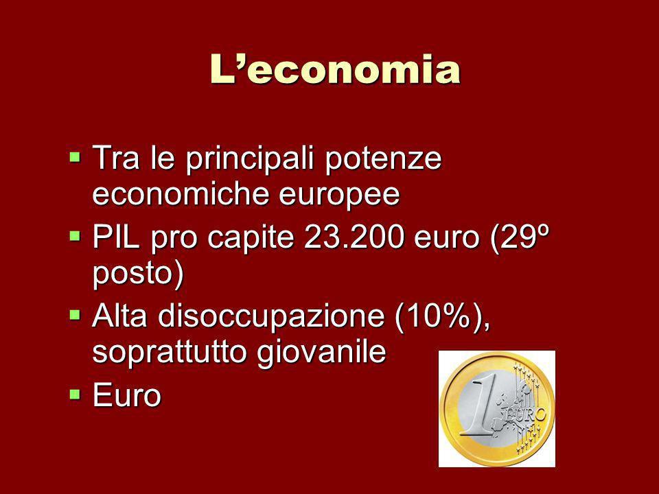 L'economia Tra le principali potenze economiche europee