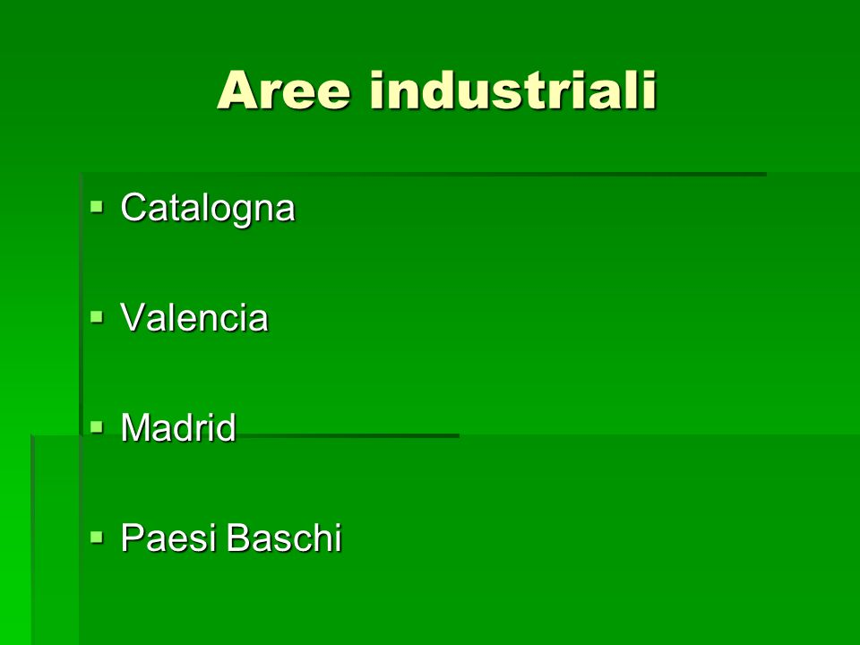 Aree industriali Catalogna Valencia Madrid Paesi Baschi