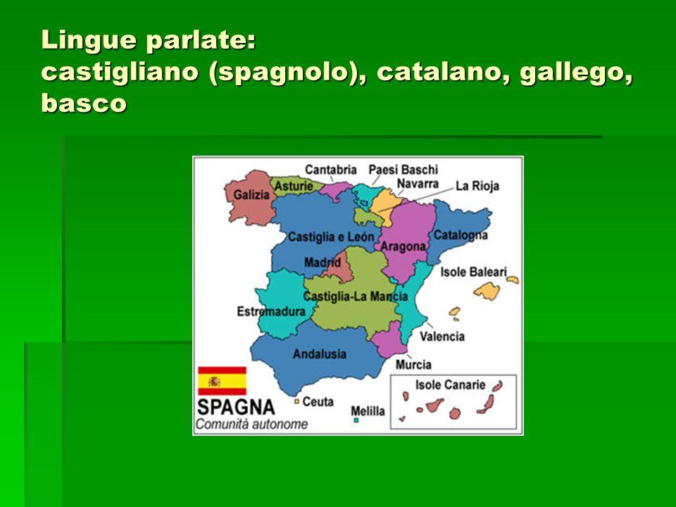 Lingue parlate: castigliano (spagnolo), catalano, gallego, basco