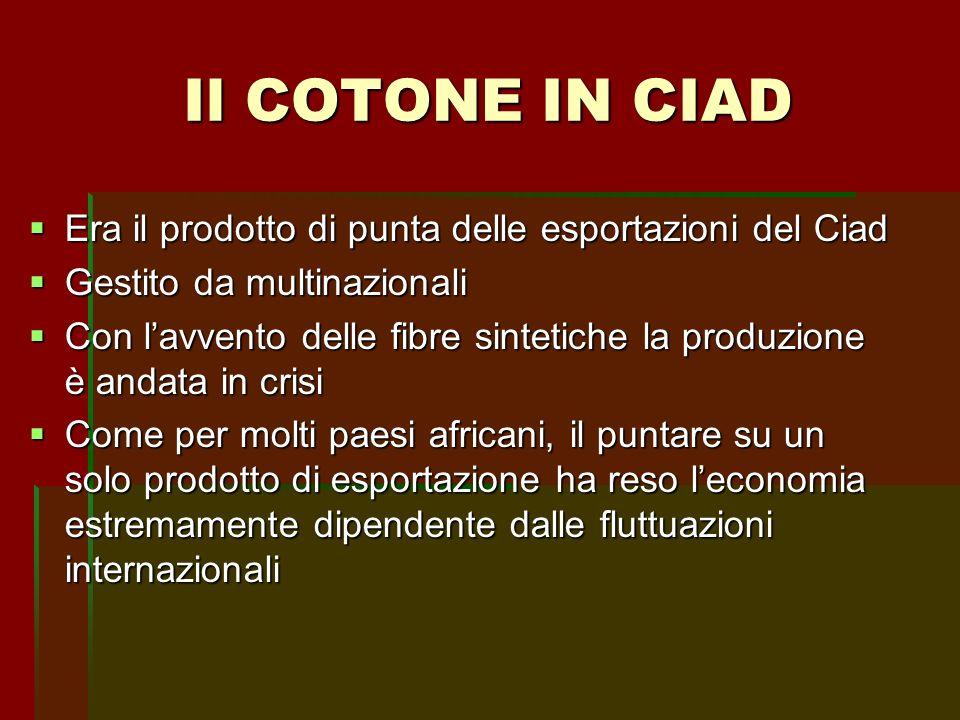 Il COTONE IN CIAD Era il prodotto di punta delle esportazioni del Ciad