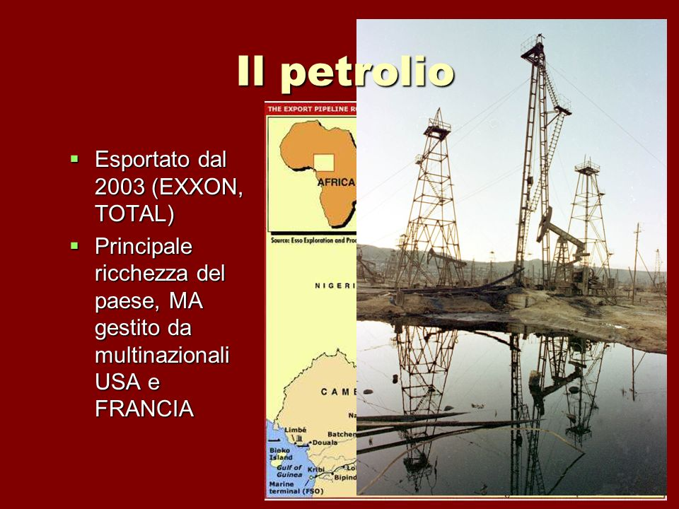 Il petrolio Esportato dal 2003 (EXXON, TOTAL)