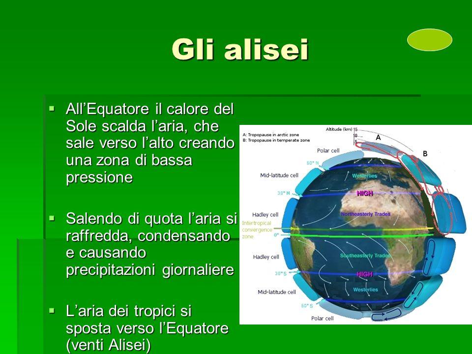 Gli alisei All'Equatore il calore del Sole scalda l'aria, che sale verso l'alto creando una zona di bassa pressione.