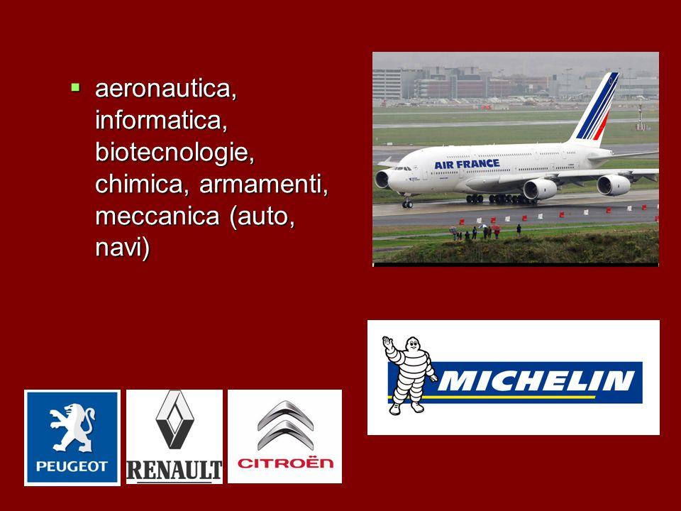 aeronautica, informatica, biotecnologie, chimica, armamenti, meccanica (auto, navi)