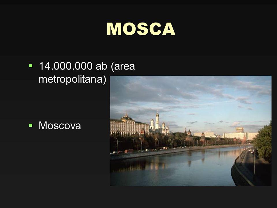 MOSCA 14.000.000 ab (area metropolitana) Moscova
