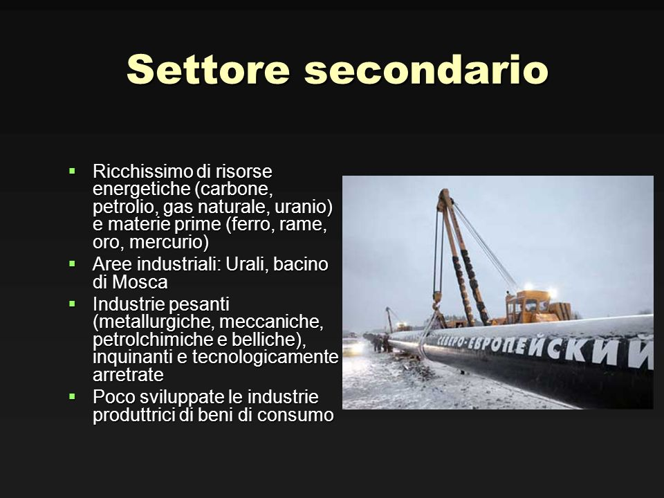 Settore secondario Ricchissimo di risorse energetiche (carbone, petrolio, gas naturale, uranio) e materie prime (ferro, rame, oro, mercurio)