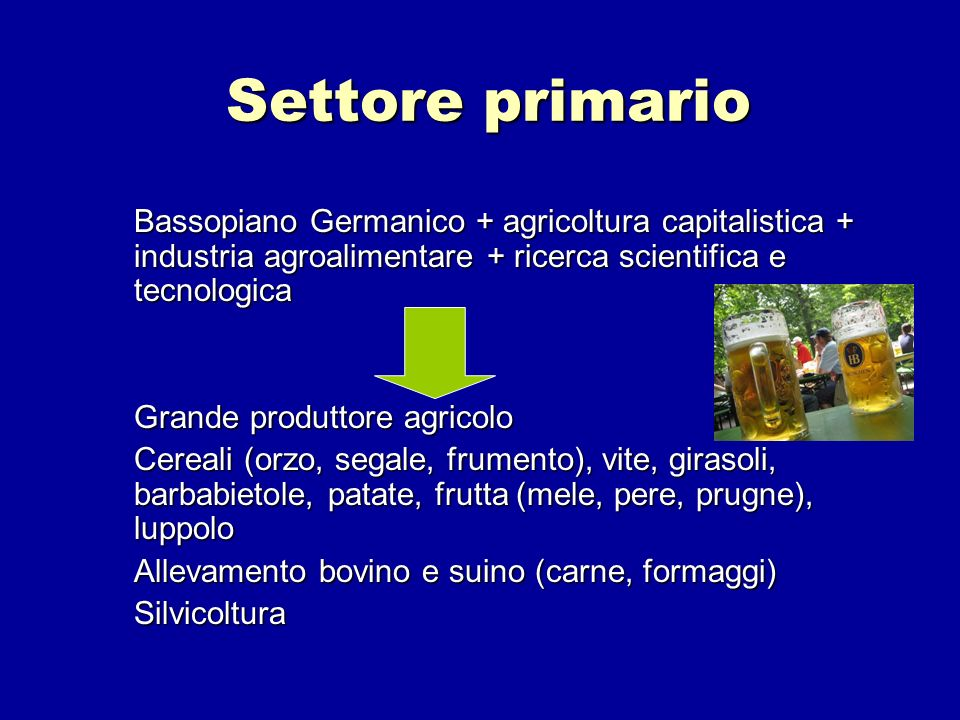 Settore primarioBassopiano Germanico + agricoltura capitalistica + industria agroalimentare + ricerca scientifica e tecnologica.