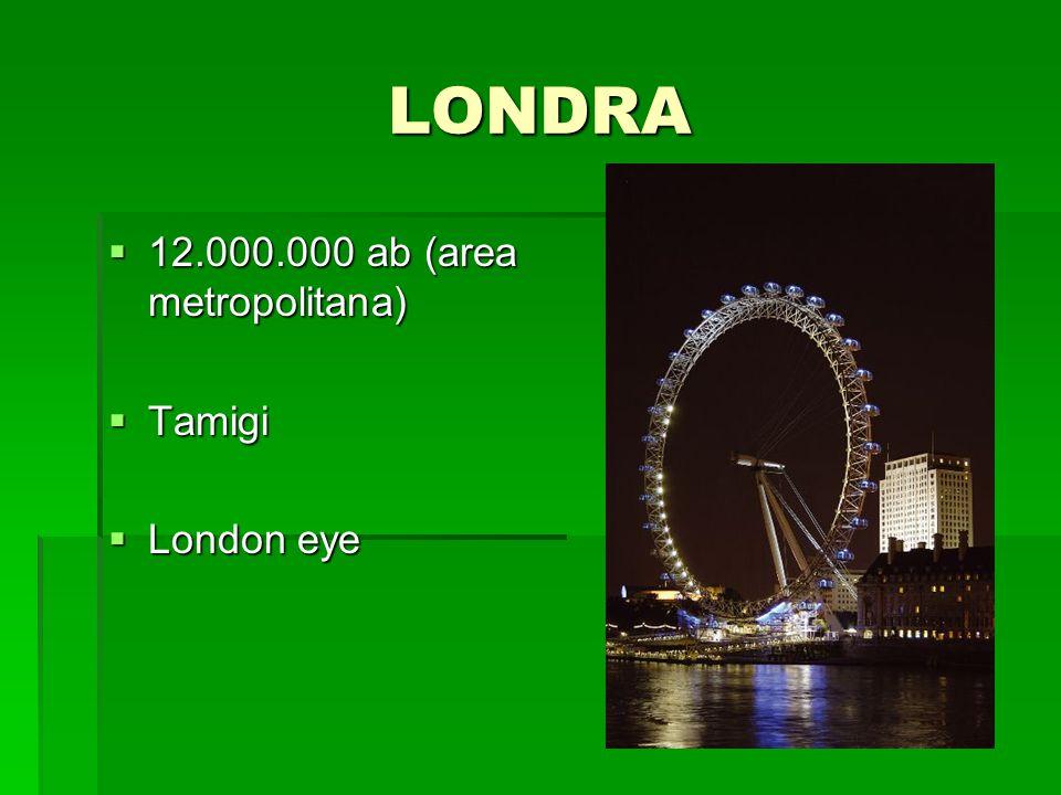 LONDRA 12.000.000 ab (area metropolitana) Tamigi London eye