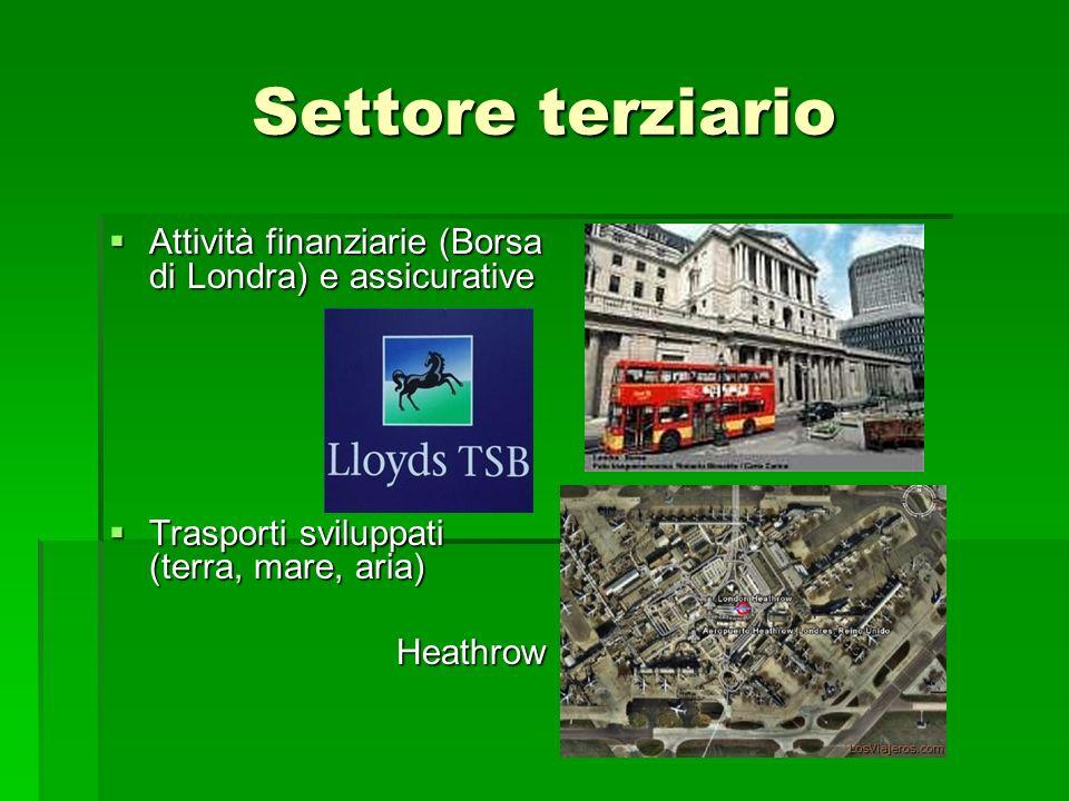 Settore terziario Attività finanziarie (Borsa di Londra) e assicurative. Trasporti sviluppati (terra, mare, aria)