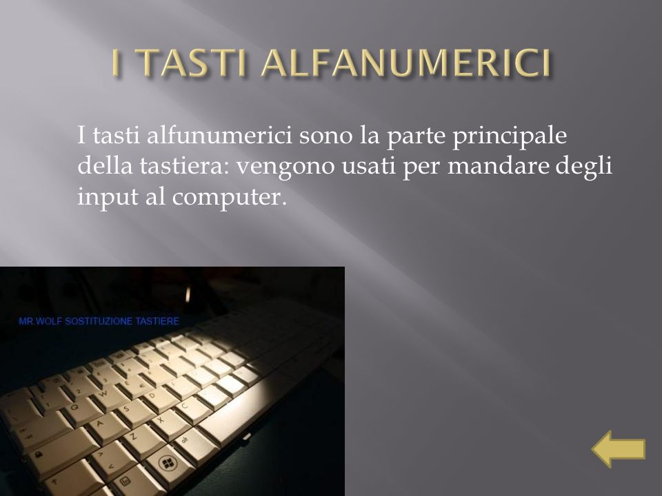 I TASTI ALFANUMERICI I tasti alfunumerici sono la parte principale della tastiera: vengono usati per mandare degli input al computer.
