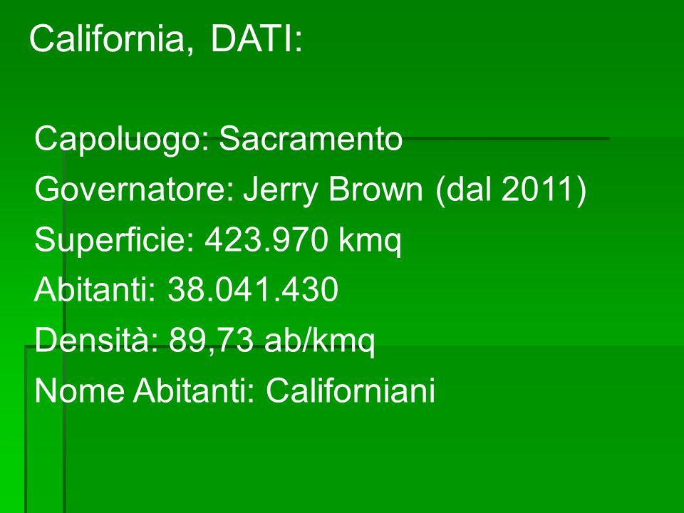 California, DATI: Capoluogo: Sacramento