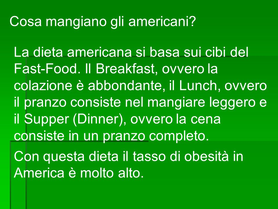 Cosa mangiano gli americani