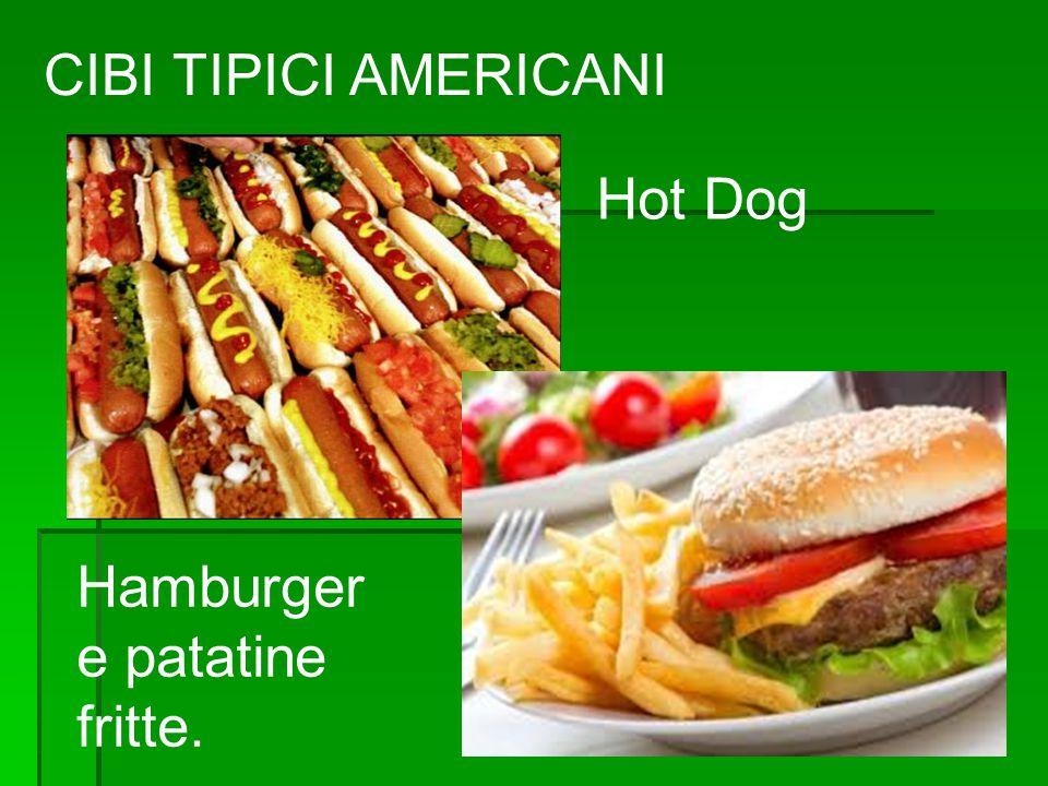 CIBI TIPICI AMERICANI Hot Dog Hamburger e patatine fritte.