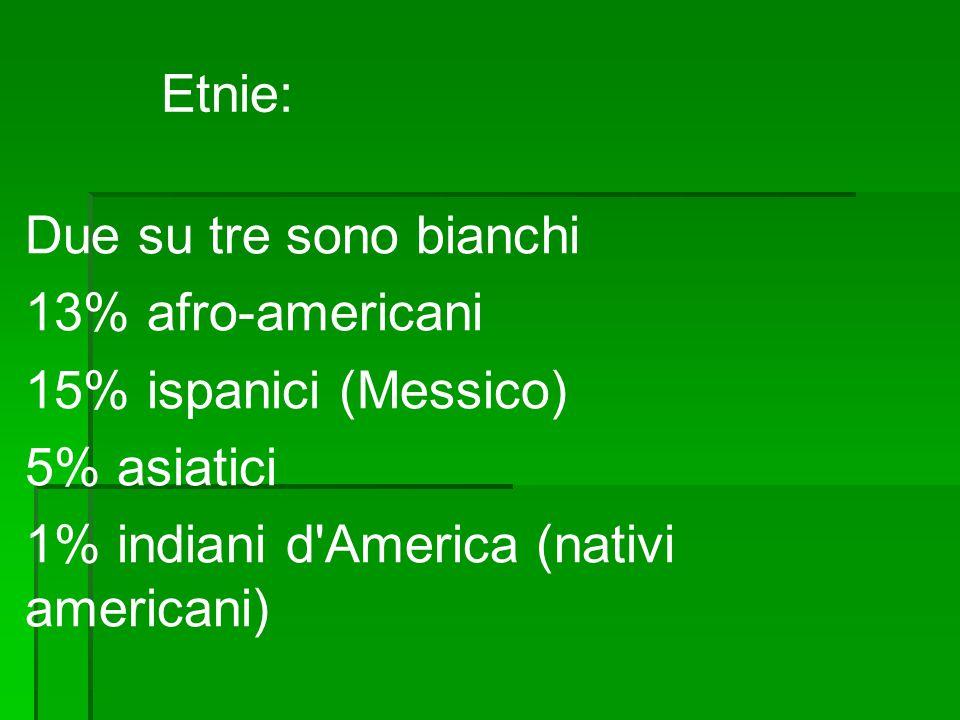 Etnie: Due su tre sono bianchi. 13% afro-americani.