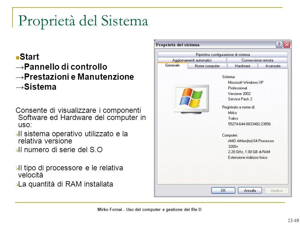 Proprietà del Sistema Start →Pannello di controllo