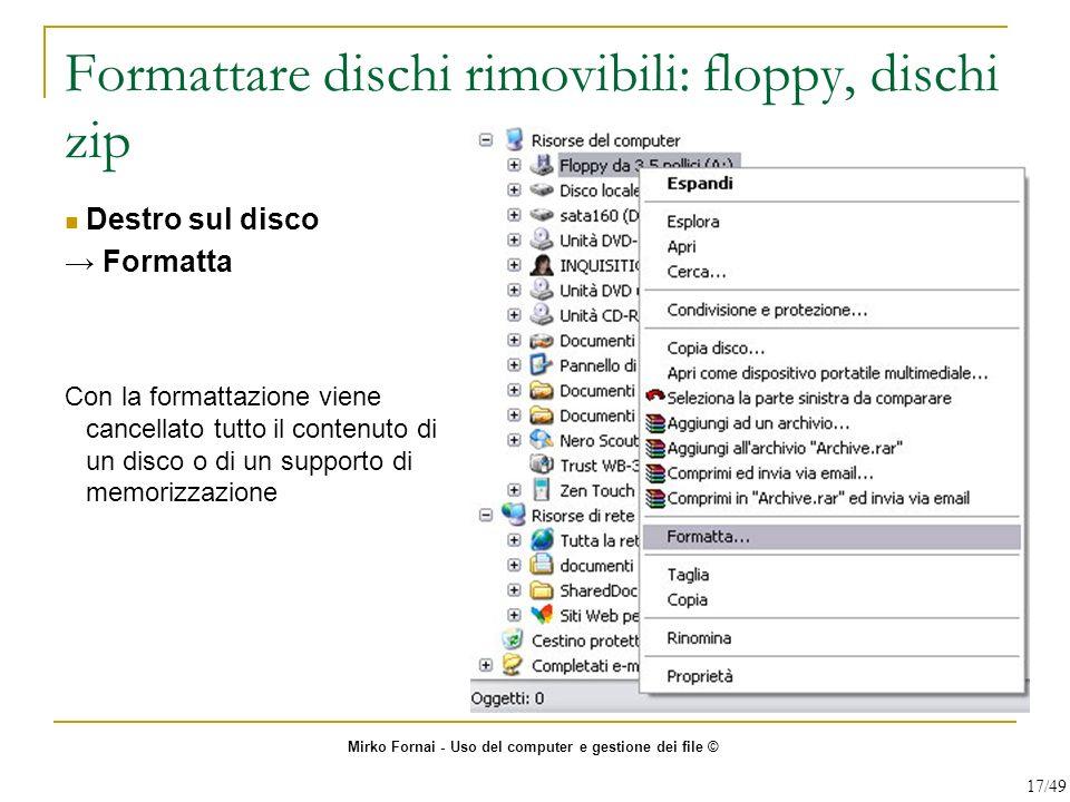 Formattare dischi rimovibili: floppy, dischi zip