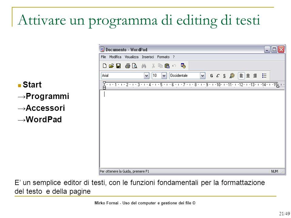Attivare un programma di editing di testi