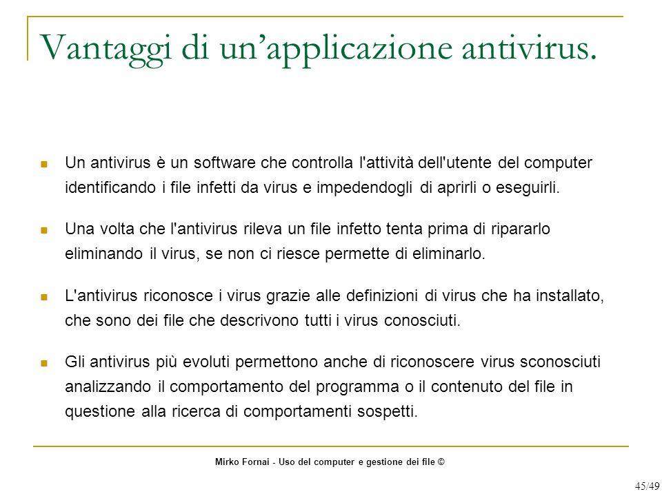 Vantaggi di un'applicazione antivirus.