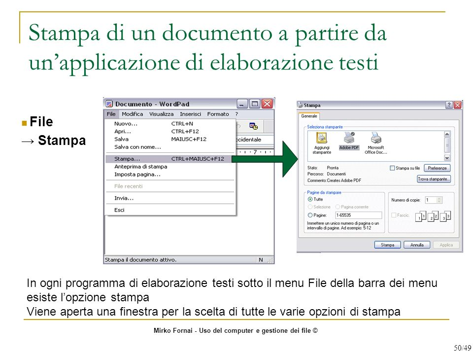 Stampa di un documento a partire da un'applicazione di elaborazione testi