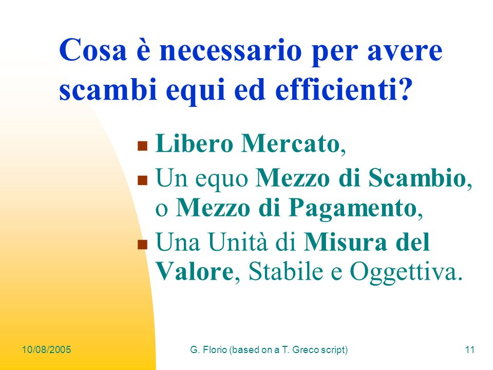 Cosa è necessario per avere scambi equi ed efficienti
