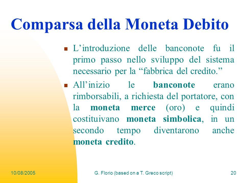 Comparsa della Moneta Debito