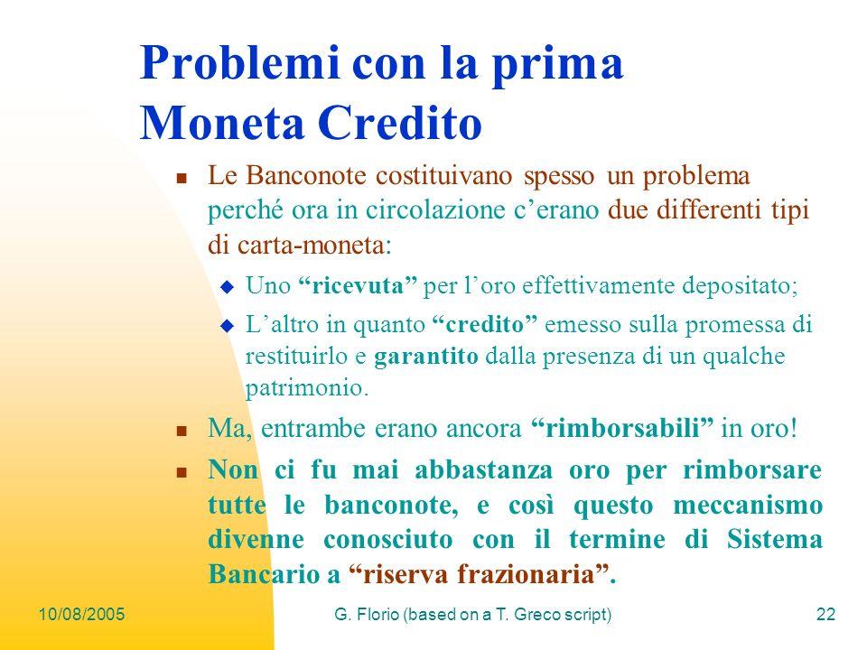 Problemi con la prima Moneta Credito
