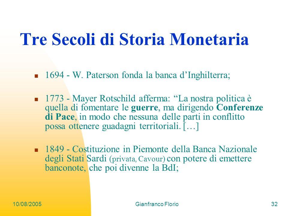 Tre Secoli di Storia Monetaria