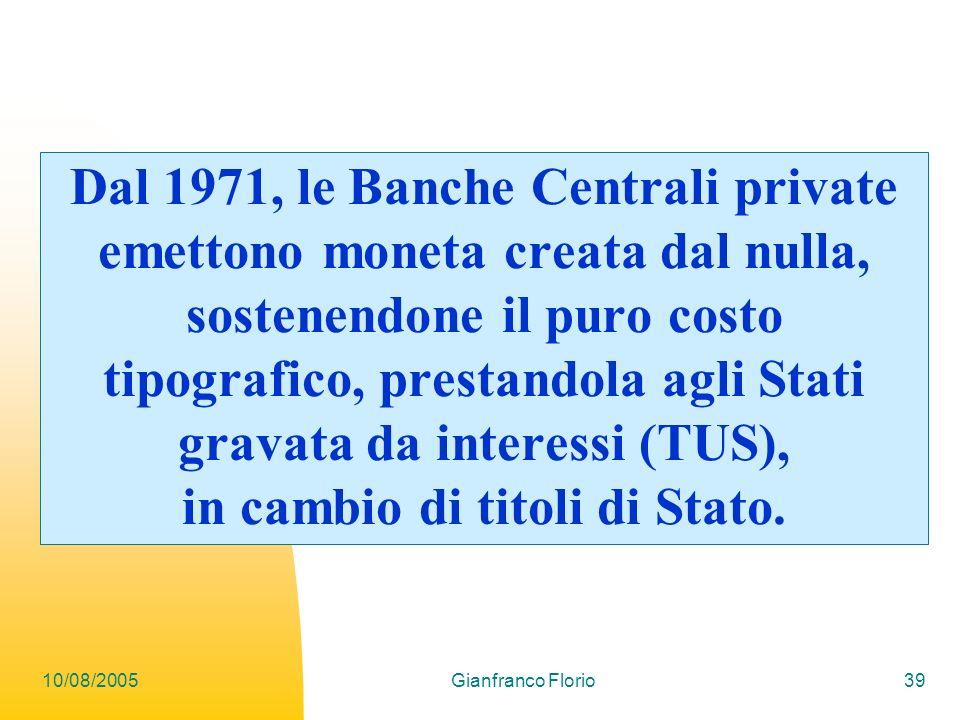 Dal 1971, le Banche Centrali private emettono moneta creata dal nulla, sostenendone il puro costo tipografico, prestandola agli Stati gravata da interessi (TUS), in cambio di titoli di Stato.