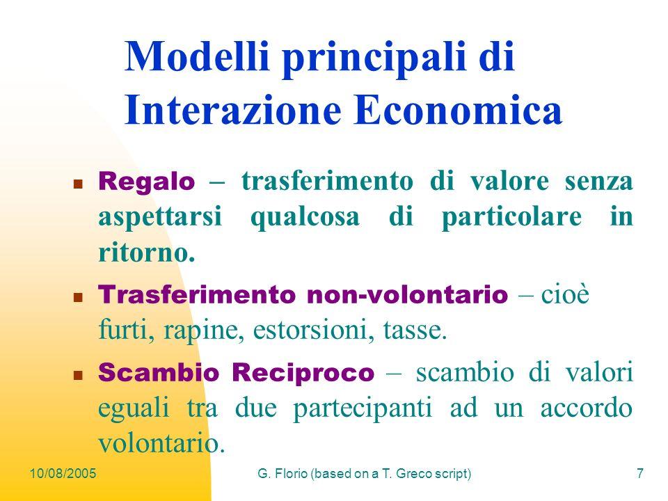 Modelli principali di Interazione Economica