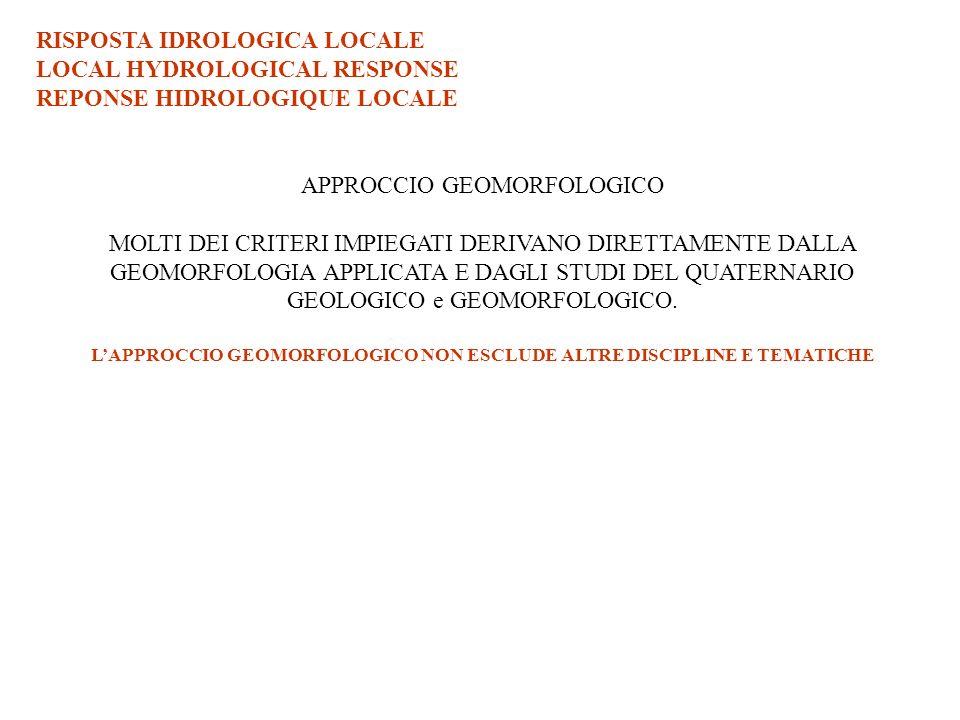 L'APPROCCIO GEOMORFOLOGICO NON ESCLUDE ALTRE DISCIPLINE E TEMATICHE