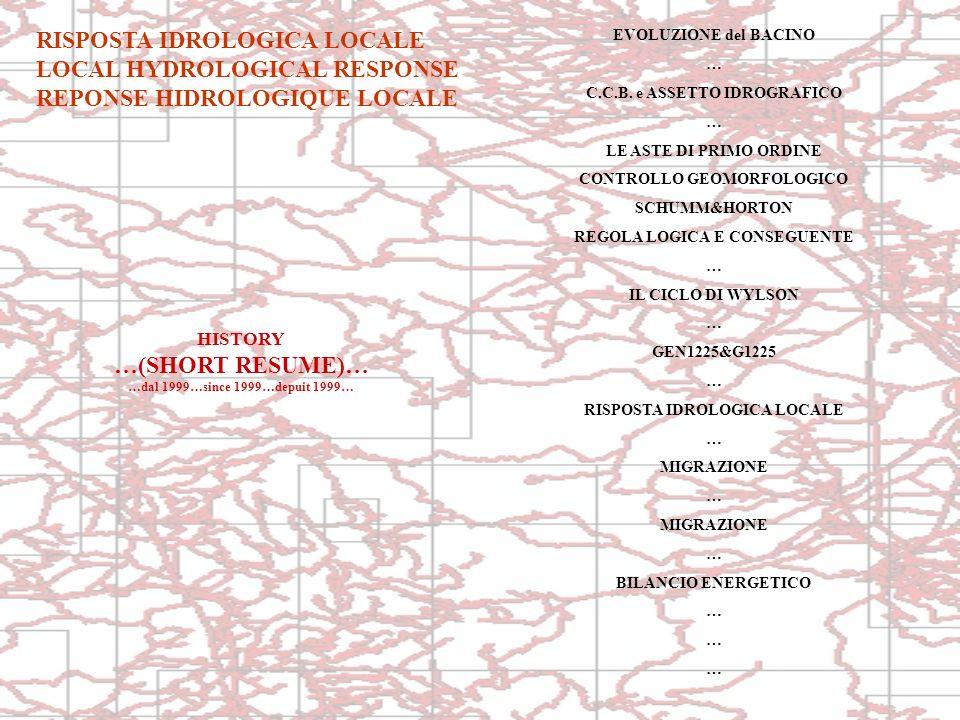RISPOSTA IDROLOGICA LOCALE LOCAL HYDROLOGICAL RESPONSE