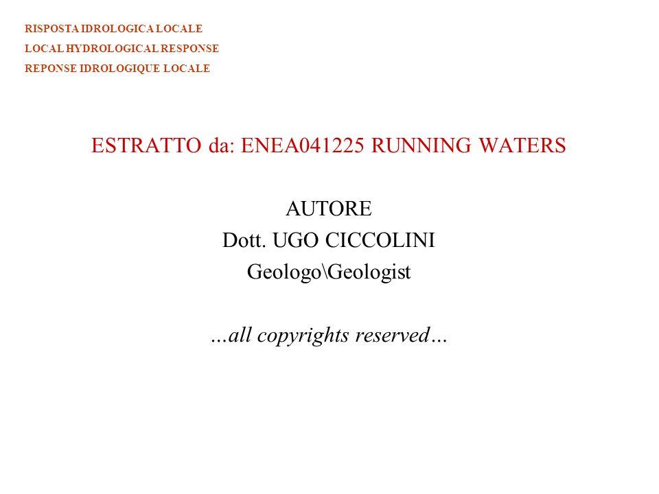 ESTRATTO da: ENEA041225 RUNNING WATERS AUTORE Dott. UGO CICCOLINI