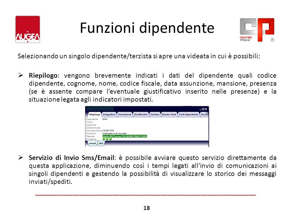 Funzioni dipendenteSelezionando un singolo dipendente/terzista si apre una videata in cui è possibili: