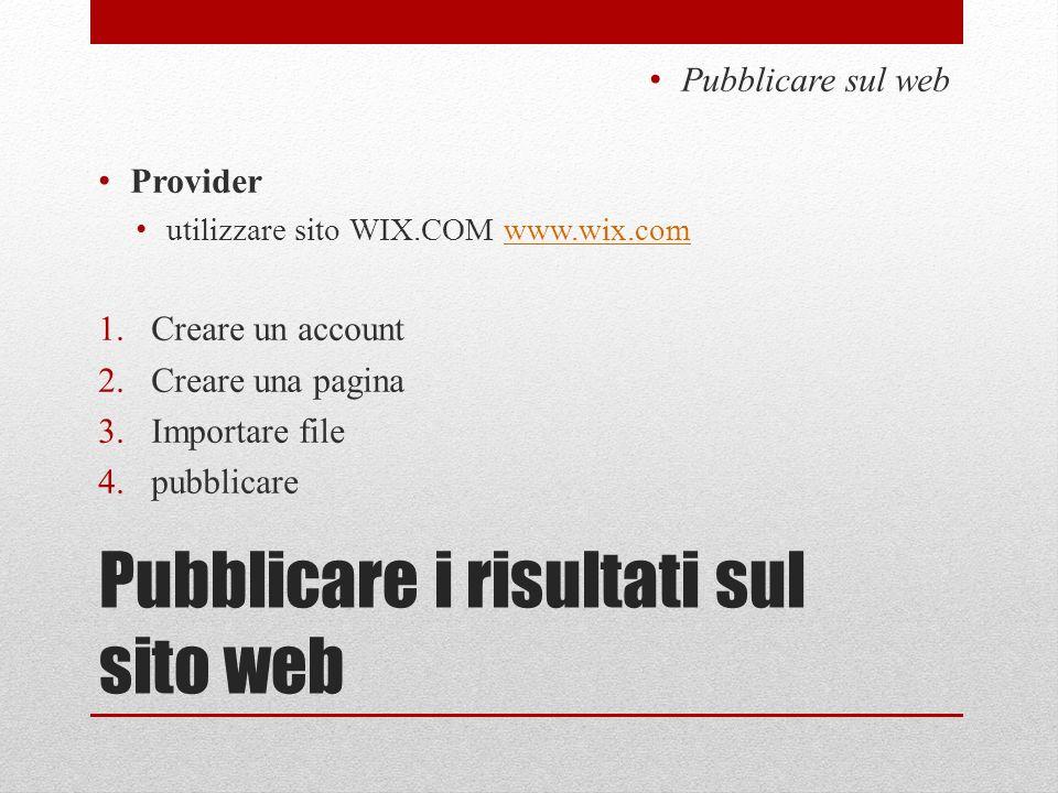 Pubblicare i risultati sul sito web