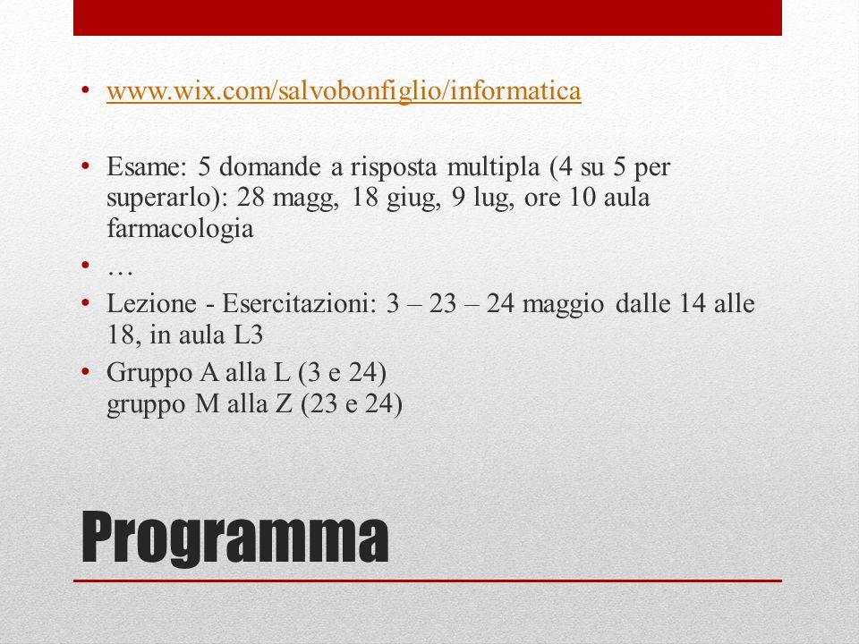 Programma www.wix.com/salvobonfiglio/informatica