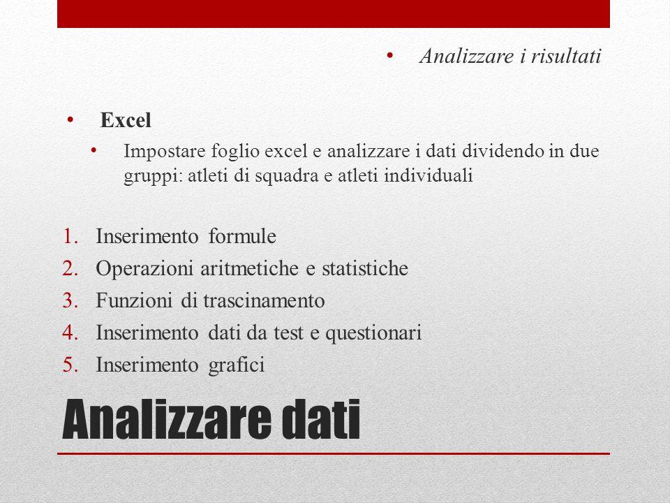 Analizzare dati Analizzare i risultati Excel Inserimento formule