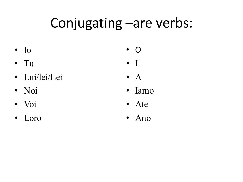 Conjugating –are verbs: