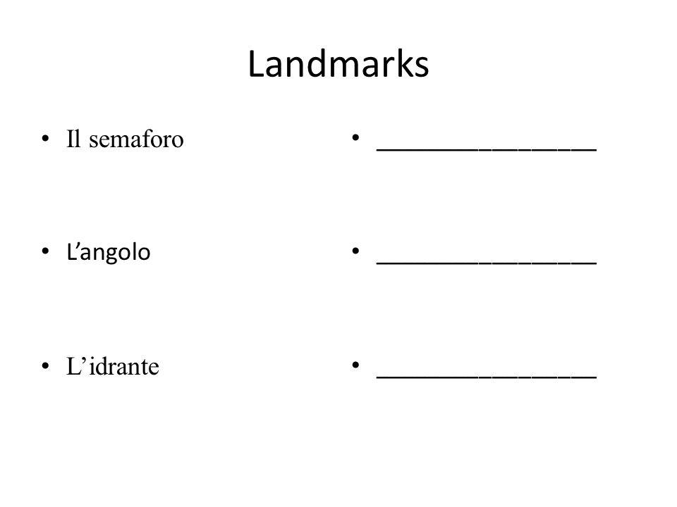 Landmarks Il semaforo L'angolo L'idrante _________________