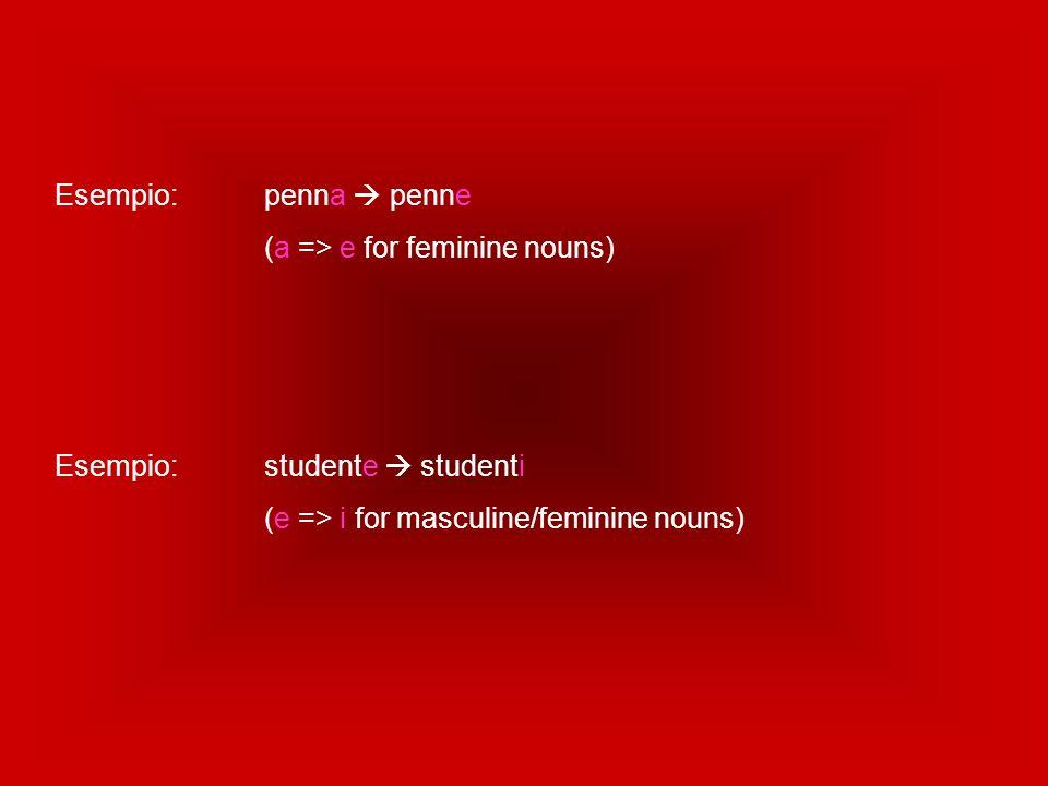 Esempio: penna  penne (a => e for feminine nouns) Esempio: studente  studenti.