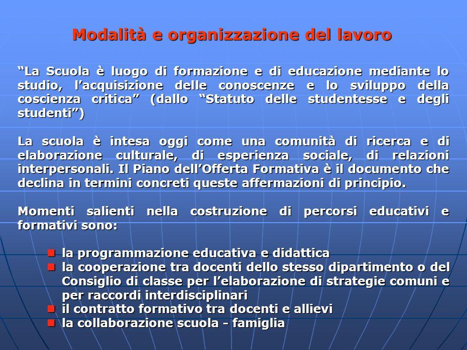 Modalità e organizzazione del lavoro