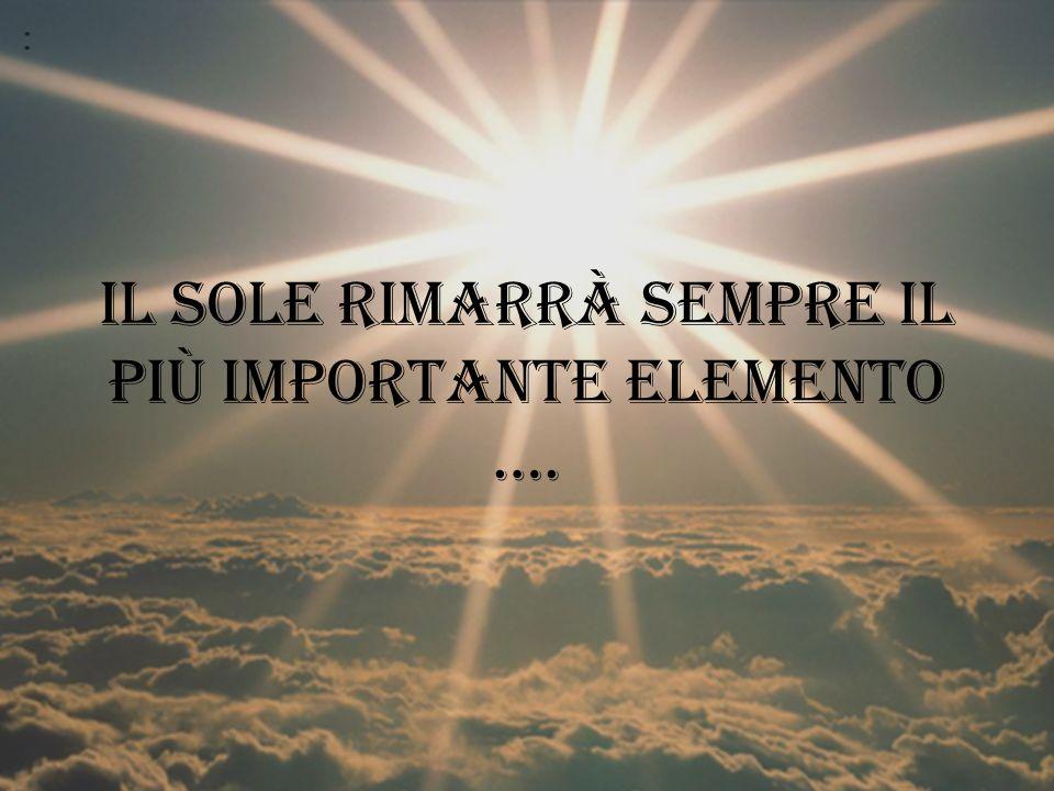 Il sole rimarrà sempre il più importante elemento ….