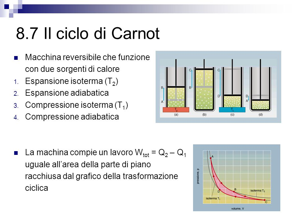 8.7 Il ciclo di Carnot Macchina reversibile che funzione