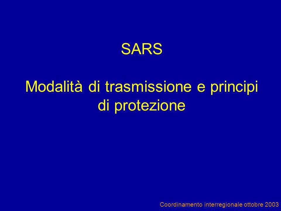 SARS Modalità di trasmissione e principi di protezione