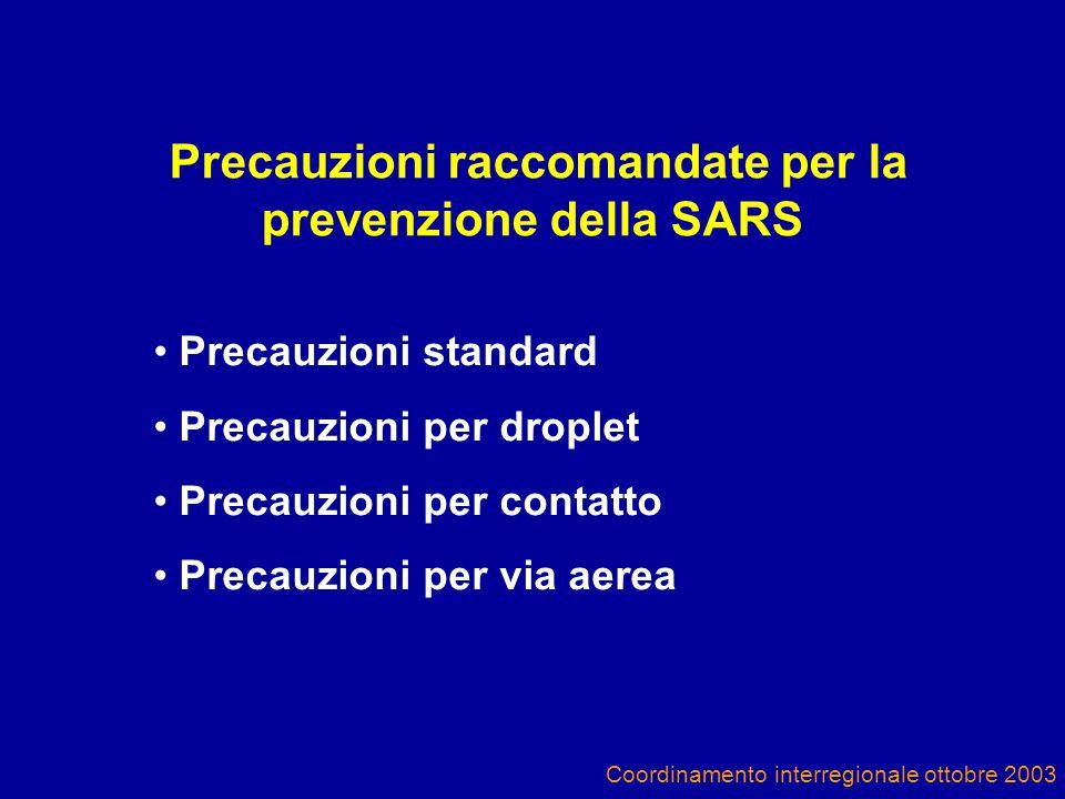 Precauzioni raccomandate per la prevenzione della SARS