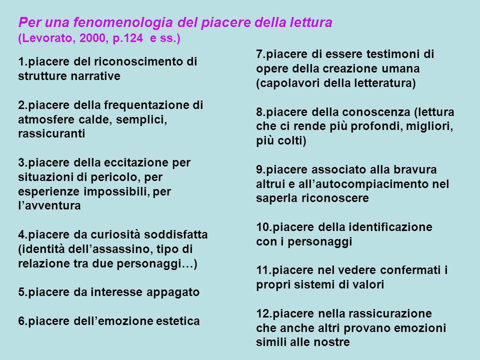 Per una fenomenologia del piacere della lettura (Levorato, 2000, p