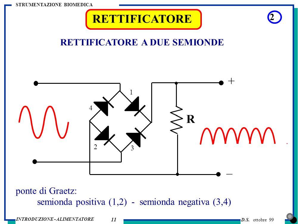 RETTIFICATORE + R – 2 RETTIFICATORE A DUE SEMIONDE ponte di Graetz: