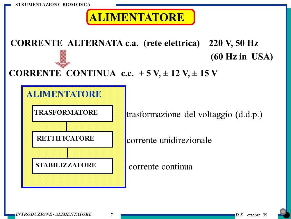 ALIMENTATORE CORRENTE ALTERNATA c.a. (rete elettrica) 220 V, 50 Hz