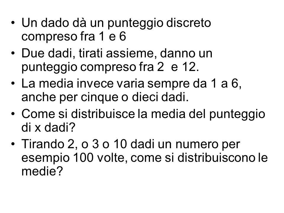 Un dado dà un punteggio discreto compreso fra 1 e 6