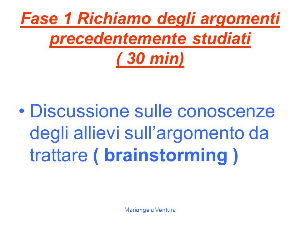 Fase 1 Richiamo degli argomenti precedentemente studiati ( 30 min)