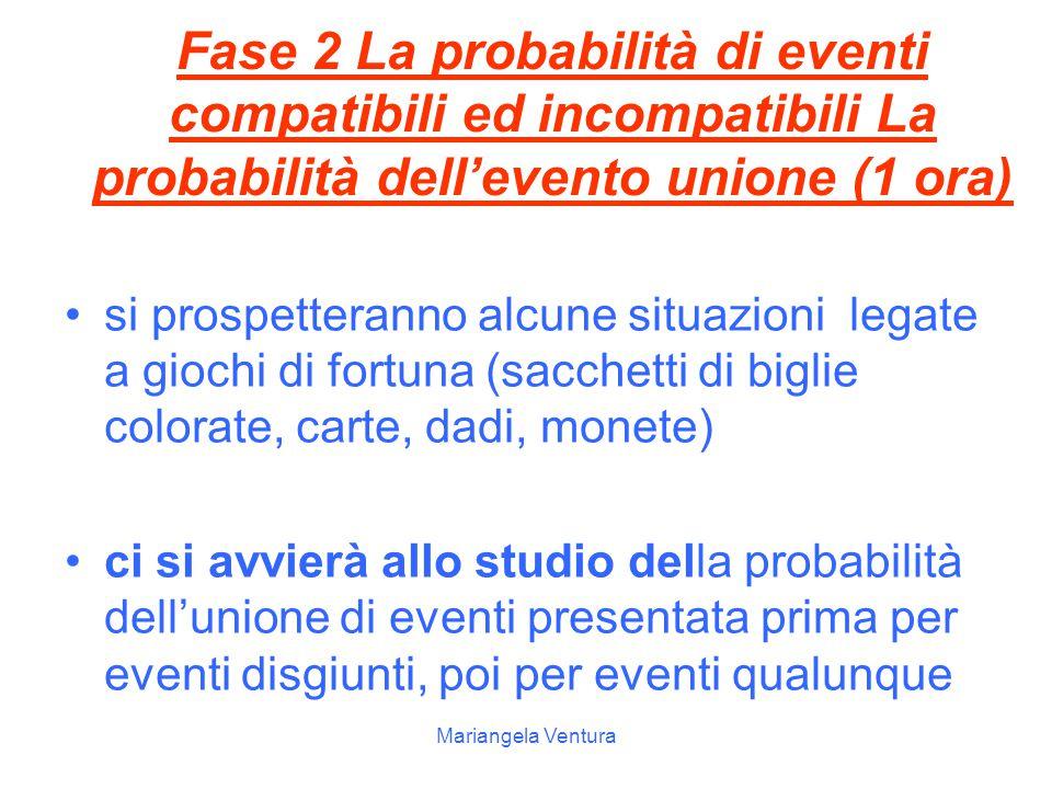 Fase 2 La probabilità di eventi compatibili ed incompatibili La probabilità dell'evento unione (1 ora)